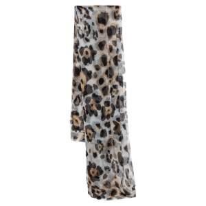 Giorgio Armani Ivory Leopard Print Silk Organza Square Scarf