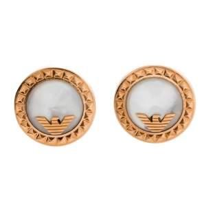 Giorgio Armani Rose Gold Tone Mother of Pearl Inlay Stud Earrings