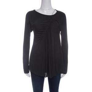 Giorgio Armani Grey Knit Gathered Long Sleeve Top M