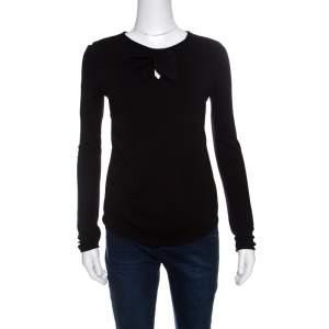 Giorgio Armani Black Knit Faux Knot Detail Long Sleeve T-Shirt S