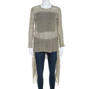 Giorgio Armani Sage Green Sheer Linen Silk Asymmetric Hem Long Sleeve Blouse M