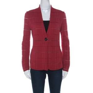 Giorgio Armani Red Rib Knit Single Button Jacket S