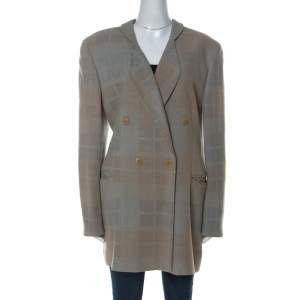 Giorgio Armani Bicolor Checked Wool Blend Double Breasted Blazer L
