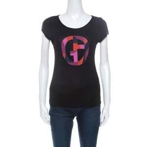 Giorgio Armani Black Sheer Logo Print T-Shirt S