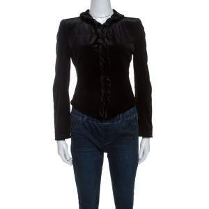 Giorgio Armani Black Velvet Ruffle Trim Zip Front Jacket S