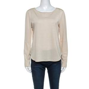 Giorgio Armani Light Beige Textured Stretch Knit Long Sleeve Top M