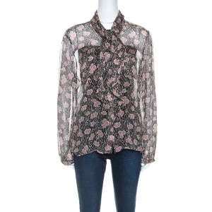 Giorgio Armani Black and Pink Floral Print Sheer Silk Blouse L