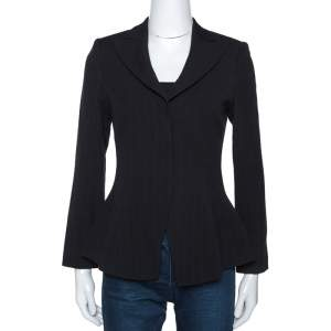 Giorgio Armani Black Stripe Wool Fitted Blazer S