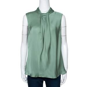 Giorgio Armani Pale Green Silk Draped Sleeveless Blouse XL