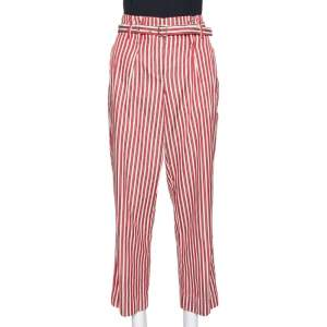 Giorgio Armani Red Striped Silk Blend High Waisted Cropped Trousers S