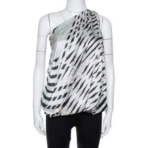 Giorgio Armani Light Grey Printed Silk Draped One-Shoulder Top M