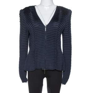 Giorgio Armani Navy Blue Pleated Knit Zip Front Jacket L