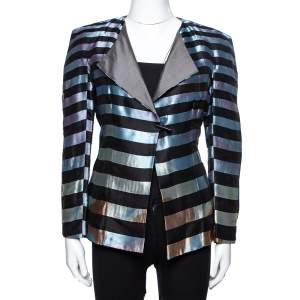Giorgio Armani Multicolor Striped Jacquard Toggle Button Jacket S