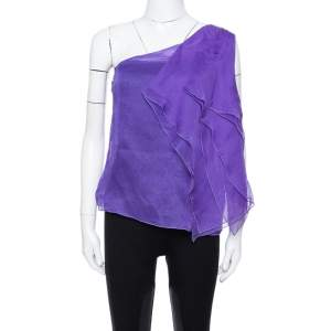 Giorgio Armani Purple Silk Organza Pleated One Shoulder Top L