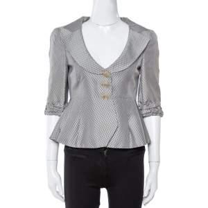 Giorgio Armani Grey Metallic Jacquard Patterned Peplum Jacket S