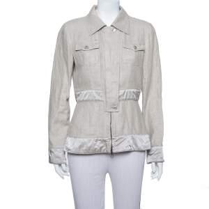 Giorgio Armani Silver Linen Safari Jacket M