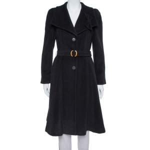 Giorgio Armani Black Rabbit Hair and Wool Blend Bow Detail Coat S