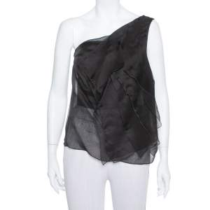 Giorgio Armani Black Silk Organza Pleated One Shoulder Top L