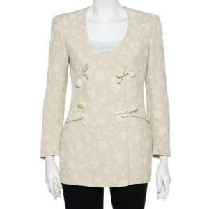 Giorgio Armani Cream Floral Jacquard Tie Detail Vintage Blazer XS