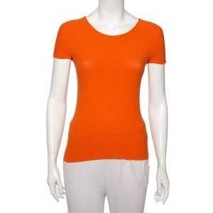 Giorgio Armani Orange Rib Knit Short Sleeve T-shirt M