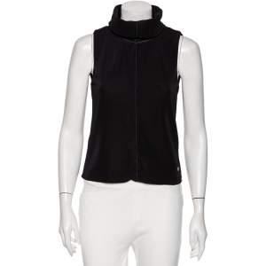 Giorgio Armani Black Knit Turtleneck Sleeveless Top M