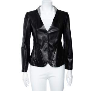 Giorgio Armani Black Leather Paneled Button Front Blazer M