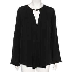 Giorgio Armani Black Georgette Pleated Buckle Neck Detailed Oversized Blouse L