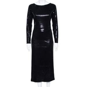 Giorgio Armani Black Sequined Long Sleeve Maxi Dress L