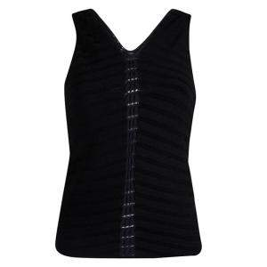 Giorgio Armani Black Sleeveless Knit V- Neck Top M
