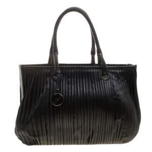 Giorgio Armani Black Pleated Leather Tote
