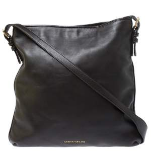 Giorgio Armani Brown Leather Messenger Bag