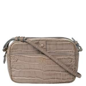 Giorgio Armani Beige Crocodile Embossed Leather Double Zip Crossbody Bag