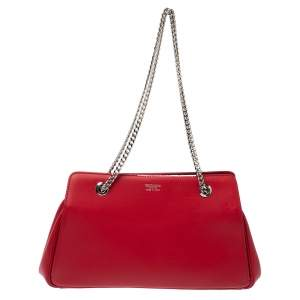 Giorgio Armani Red Leather Chain Shoulder Bag
