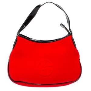 Giorgio Armani Red/Black Neoprene And Patent Leather Hobo Bag
