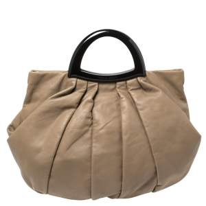 Giorgio Armani Taupe Leather Pleated Top Handle Bag