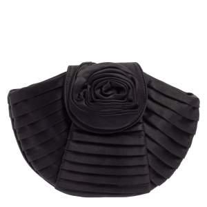 Giorgio Armani Black Pleated Satin Rose Clutch