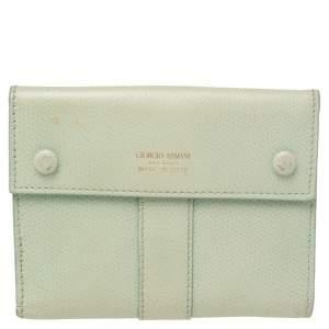 Giorgio Armani Green Leather French Wallet