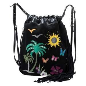 Giuseppe Zanotti Black Nubuck and Leather Tropical Embroidered Fringe Backpack