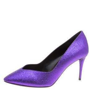 Giuseppe Zanotti Purple Glitter Olinda V Throat Pumps Size 38