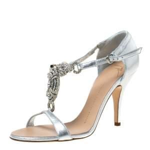 Giuseppe Zanotti Metallic Silver Leather Crystal Embellished Open Toe Sandals Size 37.5