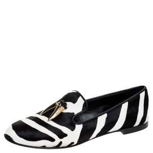 Giuseppe Zanotti White/Black Zebra Print Pony Hair Shark Tooth Embellished Smoking Slippers Size 37.5