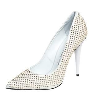 Giuseppe Zanotti White Leather Studded Pointed Toe Pumps Size 38.5
