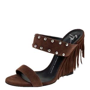 Giuseppe Zanotti Brown Studded Suede Taline Fringed Wedge Sandals Size 39