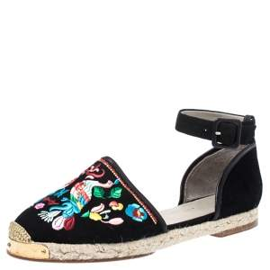 Giuseppe Zanotti Black Embroidered Suede Espadrilles Ankle Strap Flat Sandals Size 40