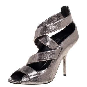 Giuseppe Zanotti Metallic Silver Leather Criss Cross Sandals Size 40