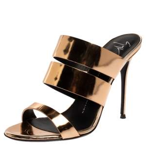 Giuseppe Zanotti Metallic Gold Leather Strappy Slide Sandals Size 38