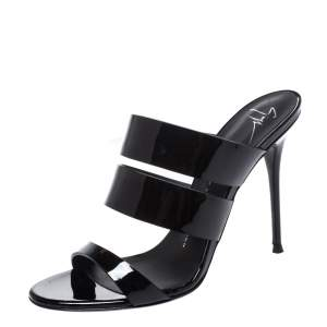 Giuseppe Zanotti Black Patent Leather Strappy Slide Sandals Size 39