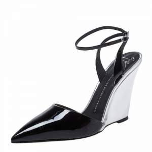 Giuseppe Zanotti Black/Silver Patent Leather Yvette Wedge Pointed Toe Pumps Size 40
