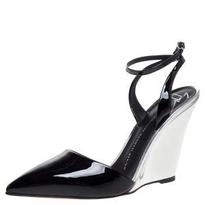 Giuseppe Zanotti Black/Silver Patent Leather Yvette Wedge Pointed Toe Pumps Size 38