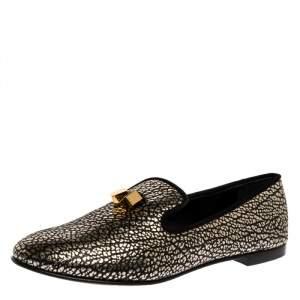 Giuseppe Zanotti Black/Silver Textured Leather Smoking Slippers Size 41